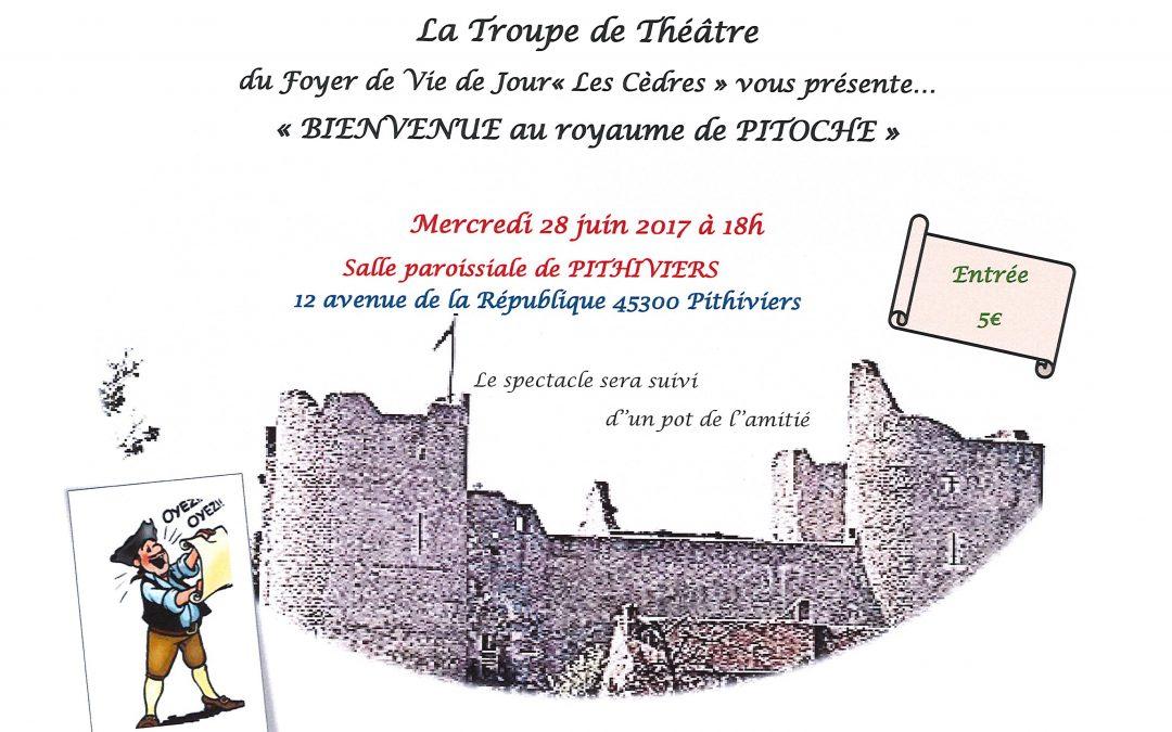 La Troupe de Théâtre du FVJ « Les Cèdres » vous invite le 28 juin à 18H à la Salle Paroissiale de Pithiviers